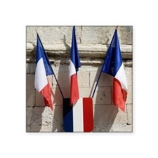 "French flags on the Popes P Square Sticker 3"" x 3"""