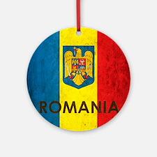 Romania Grunge Flag Round Ornament
