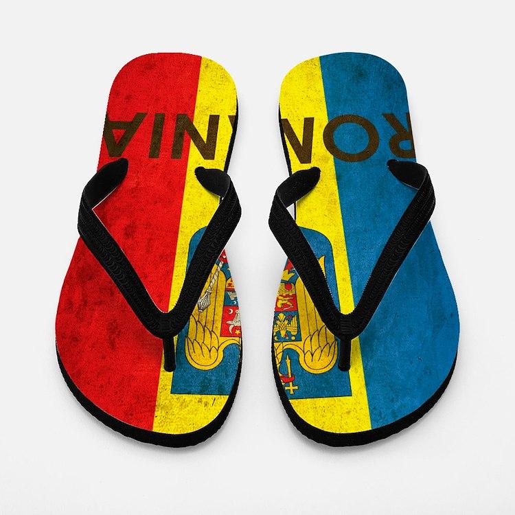 Romania Grunge Flag Flip Flops
