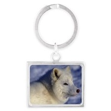 Close-up of Arctic fox in snow, Landscape Keychain
