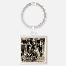 Old Timey Bike Gang Square Keychain