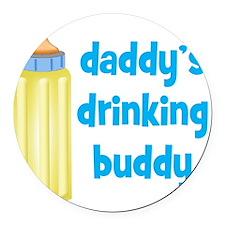 Daddys Drinking Buddy Round Car Magnet