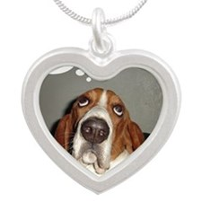 Basset thoughts Silver Heart Necklace