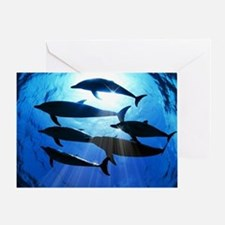 Porpoises in the Ocean with Sun Rays Greeting Card