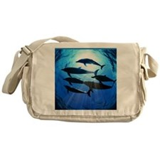Porpoises in the Ocean with Sun Rays Messenger Bag