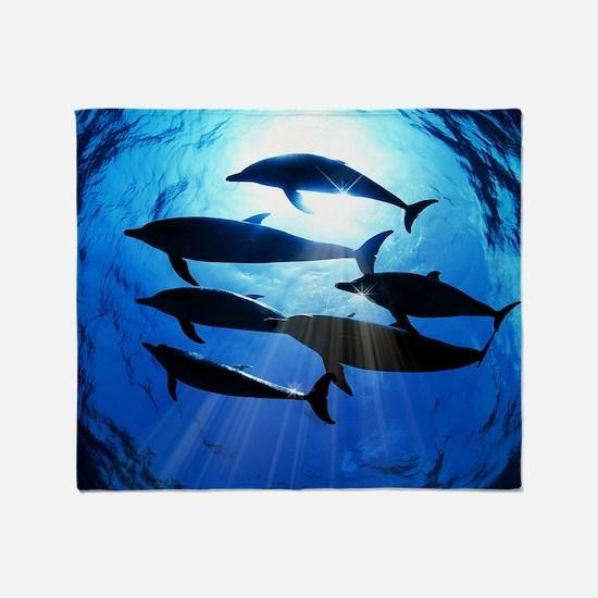 Porpoises in the Ocean with Sun Rays Throw Blanket