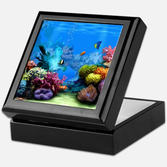 Tropical Fish Aquarium with Bright Co Keepsake Box