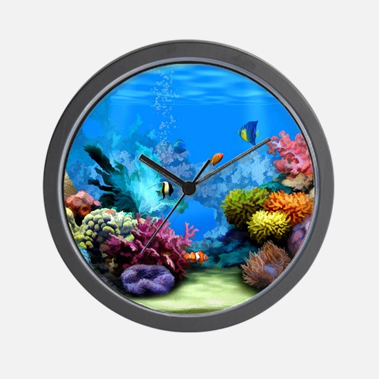 Tropical Fish Aquarium with Bright Colo Wall Clock