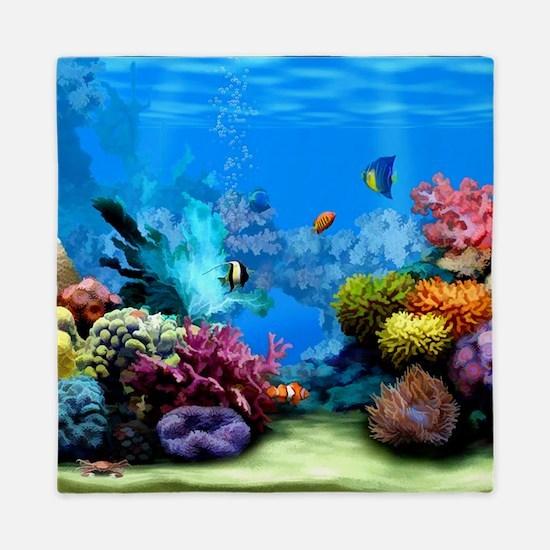 Tropical Fish Aquarium with Bright Col Queen Duvet