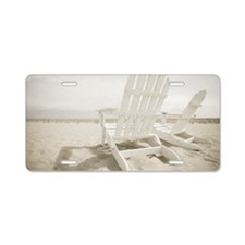 Adirondack chairs on the be Aluminum License Plate