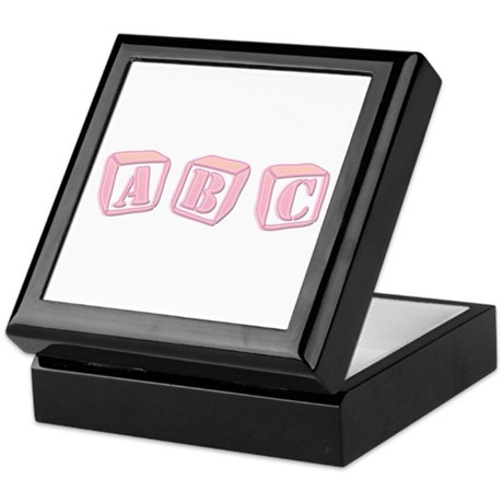 ABC's Pink Baby Blocks Keepsake Box
