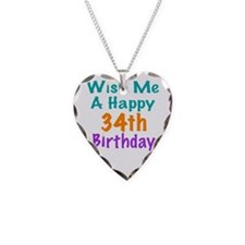 Wish me a happy 34th Birthday Necklace
