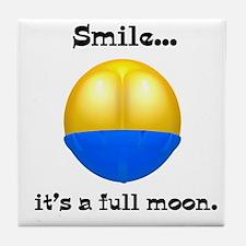 Full Moon Smile Butt Crack Tile Coaster