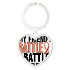 My Battle Too Friend Uterine Cancer Heart Keychain