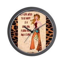 All A Cowgirl Needs Wall Clock