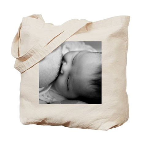 Newborn baby breast feeding Tote Bag