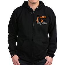 Hope For My Mom Leukemia Zipped Hoodie
