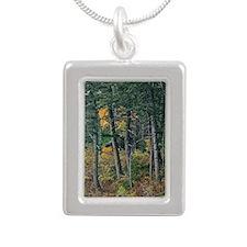 Autumn pines Silver Portrait Necklace