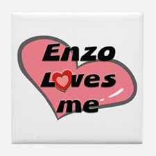 enzo loves me  Tile Coaster
