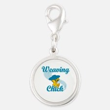 Weaving Chick #3 Silver Round Charm