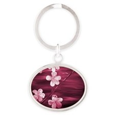 Cherry Blossom Night Shadow Oval Keychain