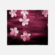 Cherry Blossom Night Shadow Throw Blanket
