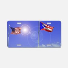 Puerto Rico and USA Love Aluminum License Plate