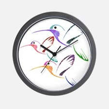 Patchwork Trio of Hummingbirds Wall Clock