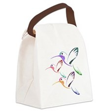Patchwork Trio of Hummingbirds Canvas Lunch Bag