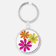 SOCIAL WORKER CIRCLE DAISIES Round Keychain