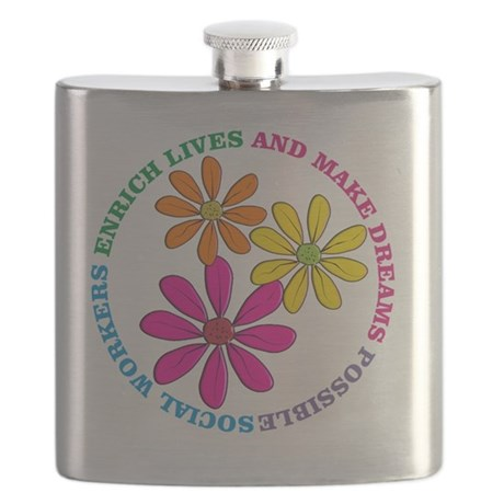 SOCIAL WORKER CIRCLE DAISIES Flask