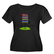 Social W Women's Plus Size Dark Scoop Neck T-Shirt
