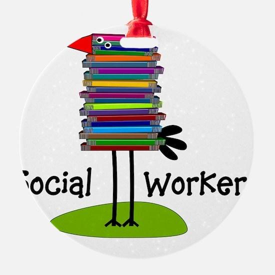 Social Worker Bird Books Ornament