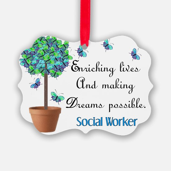 Social worker Butterfly Quote Ornament
