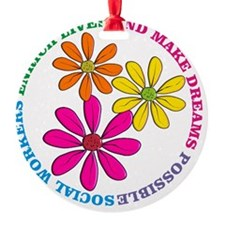 SOCIAL WORKER CIRCLE DAISIES Ornament