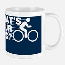 WHATS YOUR MPG? navy background Mug