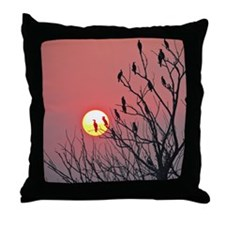 Sun and birds Throw Pillow