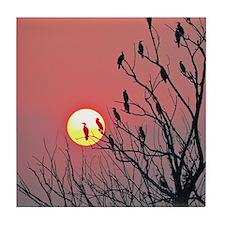 Sun and birds Tile Coaster