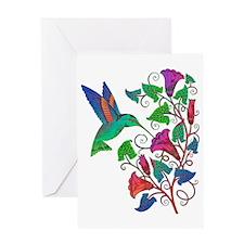 Rainbow Hummingbird on Trumpet Vine Greeting Card