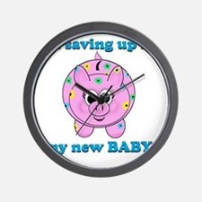 Baby Piggy Bank Savings Wall Clock