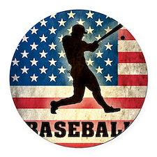 Grunge Baseball Round Car Magnet