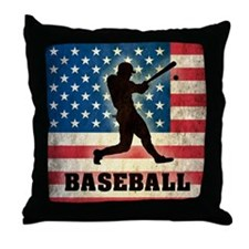Grunge Baseball Throw Pillow