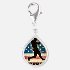 Grunge Baseball Silver Teardrop Charm