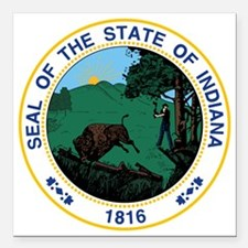 "Indiana State Seal Square Car Magnet 3"" x 3"""