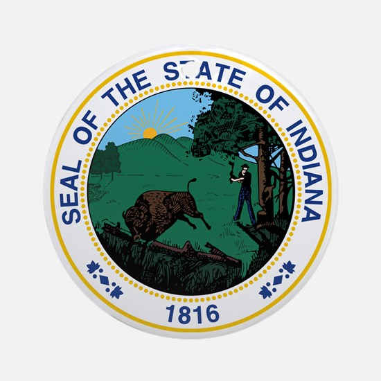 Indiana State Seal Round Ornament