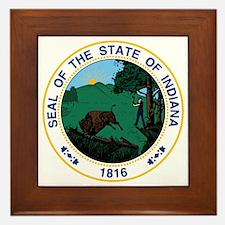 Indiana State Seal Framed Tile