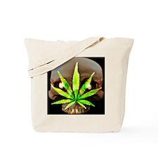 GlowInDark Weed Skull Tote Bag