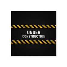 "Construction Zone Square Sticker 3"" x 3"""