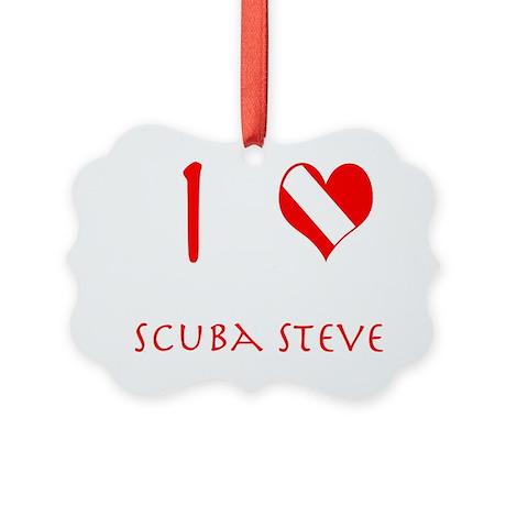 I Love Scuba Steve (red) Picture Ornament