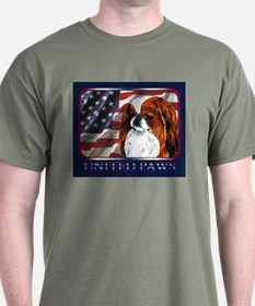 Japanese Chin Red USA Flag Dark Colored T-Shirt